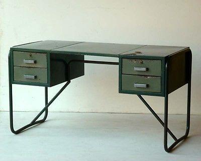 scrivania in metallo anni 30 bauhaus design industriale _ originale