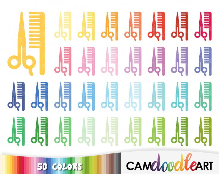 50 Scissors and Comb Clipart,Hair Comb,Hair Care,Hairdresser,Barber Shop Clipart,Scrapbooking,Planner Clipart,Sticker Clipart,png file by CamDoodleArt on Etsy