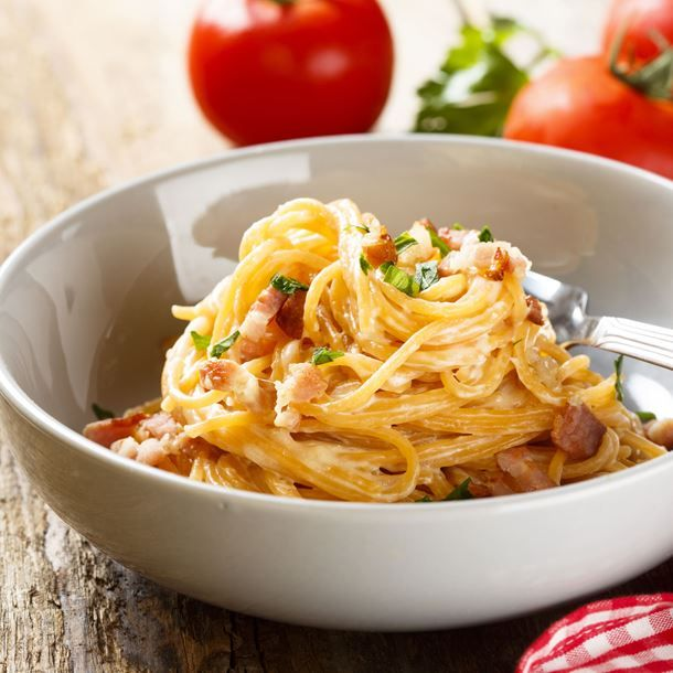 Spaghetti au magret de canard fumé