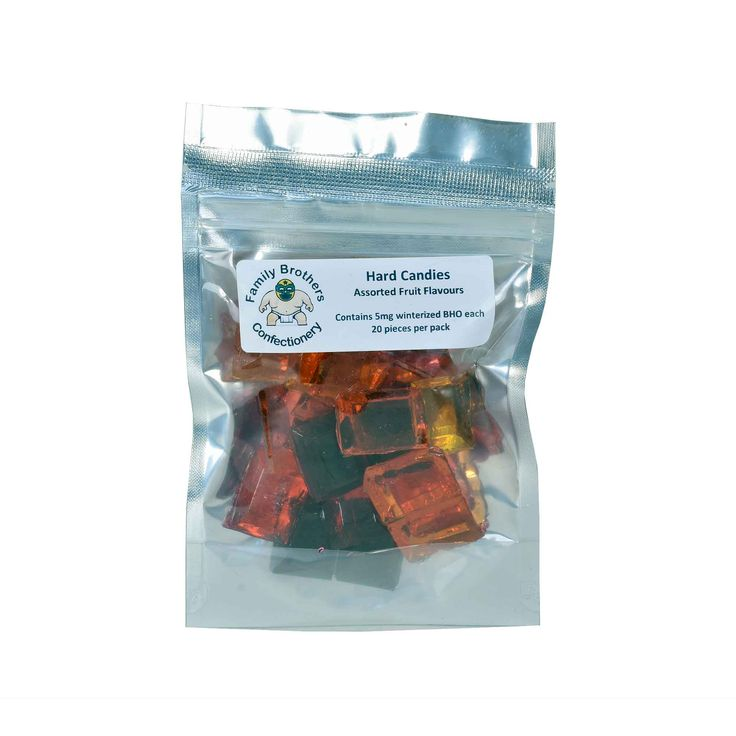 Family Brothers Hard Candies come in one bag of assorted fruit candies that contain 5mg winterized BHO (Shatter) each.  Flavours: Raspberry, Blackberry, Banana, Strawberry and Orange  20 pieces per pack, 5mg BHO per piece.