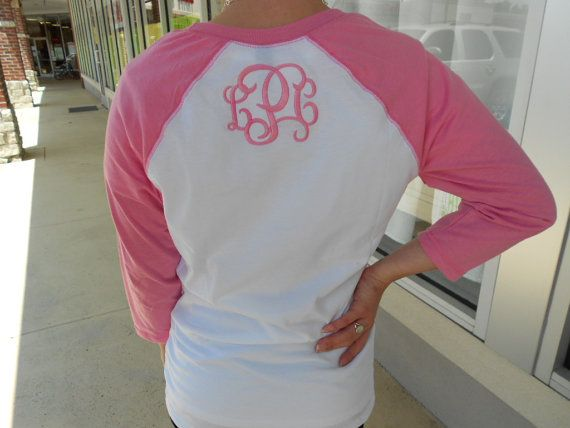 Hey, I found this really awesome Etsy listing at http://www.etsy.com/listing/156637419/three-quarter-sleeve-raglan-tee-monogram