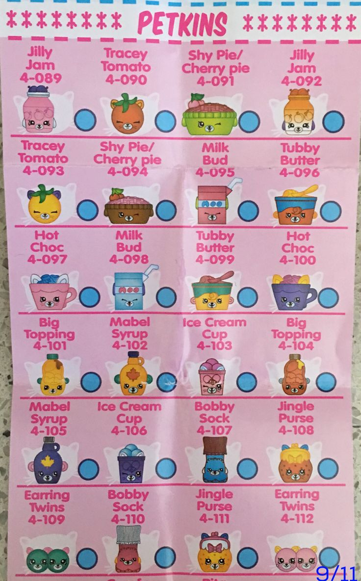 image relating to Printable Shopkins List named Shopkins Time 1 Listing -