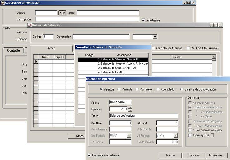 Balances del programa ERP Gextor Financiero (contabilidad).