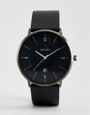 Черные часы с кожаным ремешком ASOS