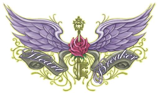 Winged Key Rose Back Tattoo