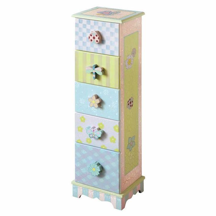 Shabby Chic 5 Drawer Cabinet www.sweetretreatkids.com #sweetretreatkids #kidsdresser #kidsstorage #kidschest #kidschest #5drawercabinet #shabbychicchest #5drawerchest #chestofdrawers