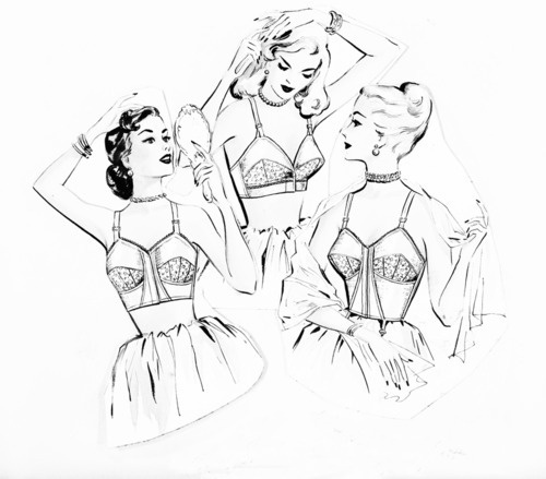 Need this on my wall.: Vintage Lingerie, Design Illustrations, Art Illustrations, 1950S Lingerie, 1950 S Lingerie, Sketch Art, Lingerie Ads, Fashion Illustrations, Ads Sketch