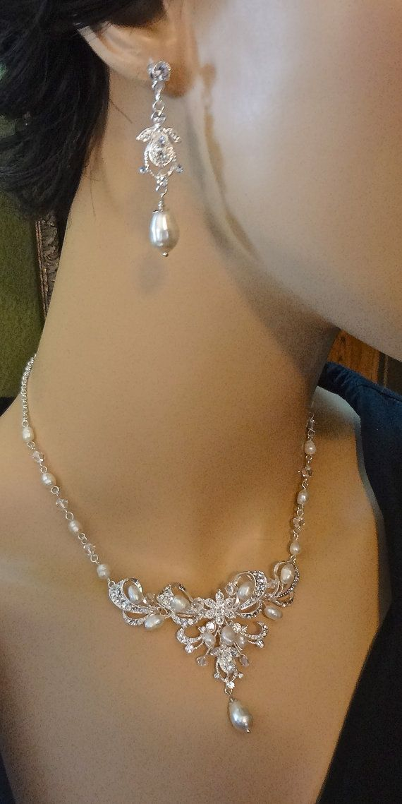 Bridal jewelry  Pearl necklace and earrings by QueenMeJewelryLLC, $59.99
