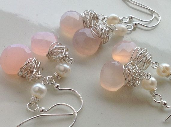 pink bridesmaid earrings SET of 3 pairs  by joellieboutique.etsy.com $85.00 romantic blush pearls wire rustic elegance vintage
