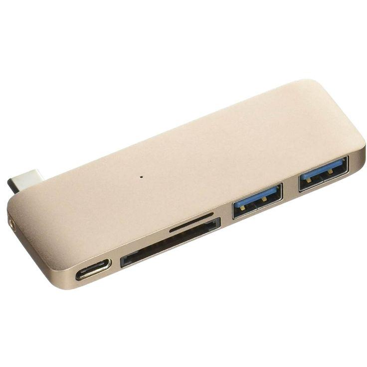 Satechi USB-C Pass Through USB Hub - мултифункционален хъб за свързване на допълнителна периферия за компютри с USB-C (златист):… www.Sim.bg