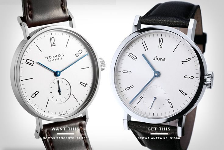Nomos Tangente (left, $1700+) and Stowa Antea KS [Antea 390 A 10] (right, ~$1000).
