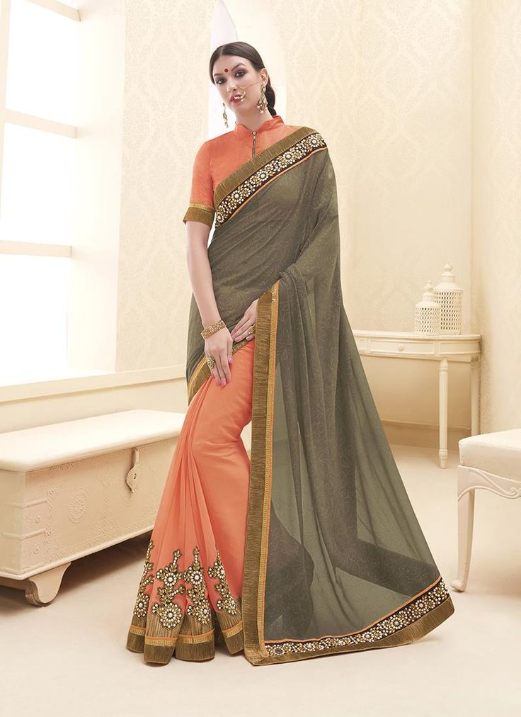 Online saree shopping made easy! Shop this staggering orange designer saree for festival and party.