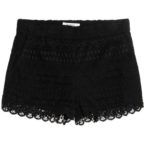 Mango Cotton Crochet Shorts, Black (340 ARS) ❤ liked on Polyvore featuring shorts, bottoms, pants, mango shorts, stretch waist shorts, cotton shorts, elastic waistband shorts and macrame shorts