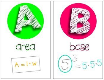 Middle School Math Classroom Decor Alphabet - Math Posters