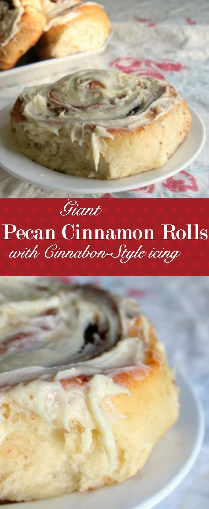 Giant, soft pecan cinnamon rolls are thickly slathered with a Cinnabon type icing. http://Restlesschipotle.com