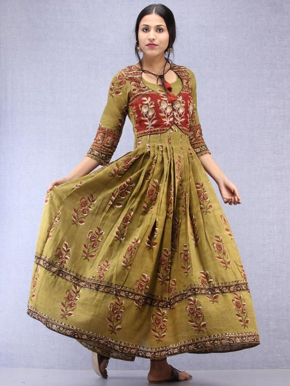 14649dac9ae Maham - Hand Block Printed   Embroidered Long Cotton Box Pleated Dress With  Tassels - DS95F001