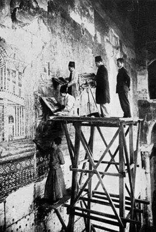 ترميم الجامع الاموي بعد الحريق الكبير وهذه الصورة تعود لعام ١٨٩٠.