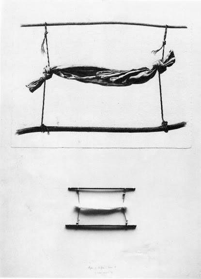 gérard titus-carmel - agrès et biffures - dessin II, 1976; (mine plomb, objet sur carton)
