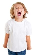 Little girl with child behavior problem screaming