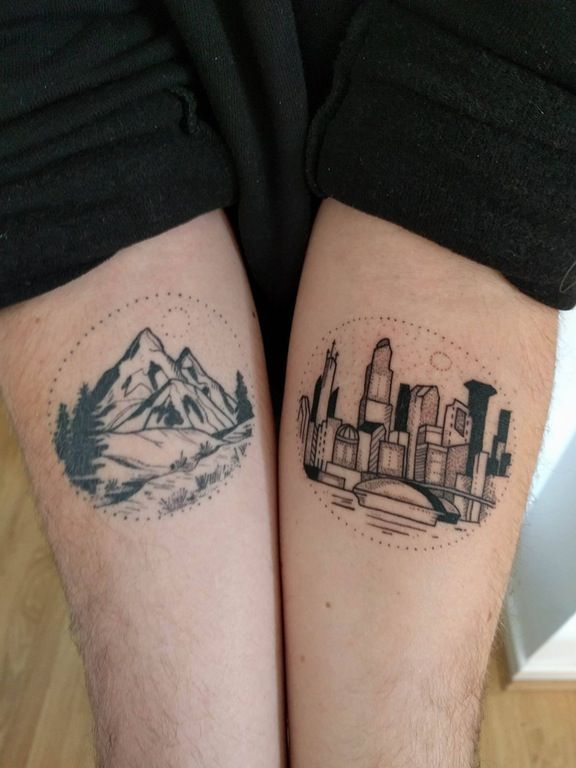 My mountain and city scenes, by Jess at L1Ink, Liverpool: tattoos