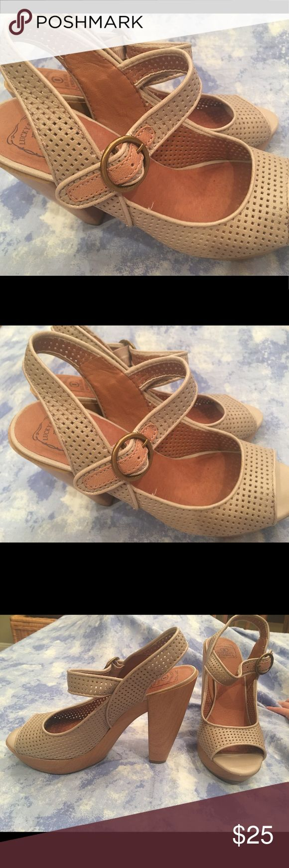 """Lucky Brand size 8.5 Leather open toe shoes Lucky Brand size 8.5 Leather open toe heels. Love these but are a bit too small for me. 5"""" heel 1"""" platform. 👠👠 Like new. Lucky Brand Shoes Heels"""