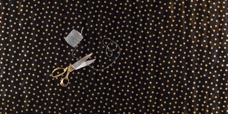 zeil 3m x 1,20m zwart met gouden stippen MixMamas, tafelzeil, Spaanse schoenen…