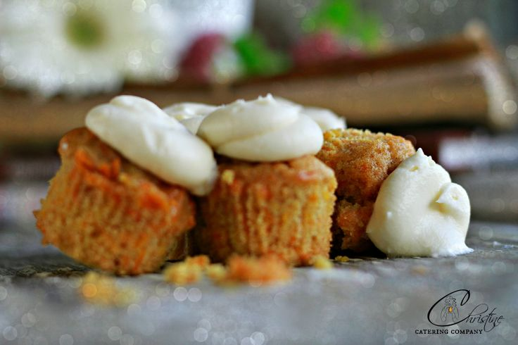 DECADENT BITE SIZE CARROT CAKE WITH CREAM CHEESE ICING http://www.christinecatering.com/