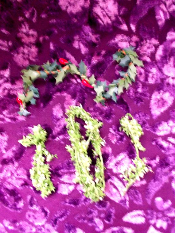 Doll House Christmas Holly and Leafy Miniature by TheAtticofKitsch