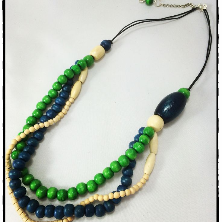 Green, cream and navy triple strand necklace ~ www.dony-maree.com.au