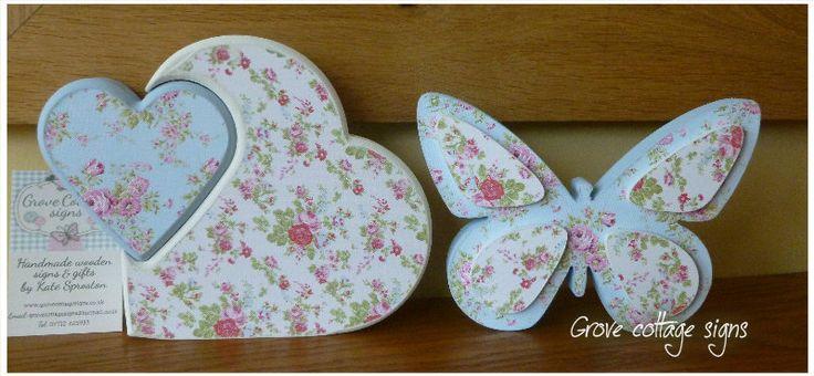 Shabby chic #grovecottage #handmade #hernebay #shabbychic #heart #butterfly #home #decor