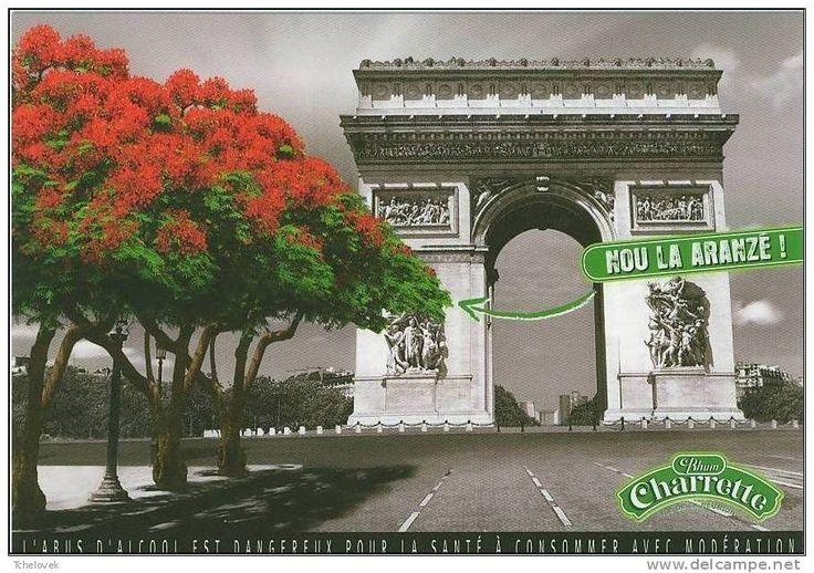 .Ile de la Reunion. Rhum Charette pub  flamboyant Champs Elysees Arc de Triomphe Paris. Vu sur web. Rhum Charrette est disponible sur mon site www.yumhbox.com - (litre, cubi, bib, flasque)