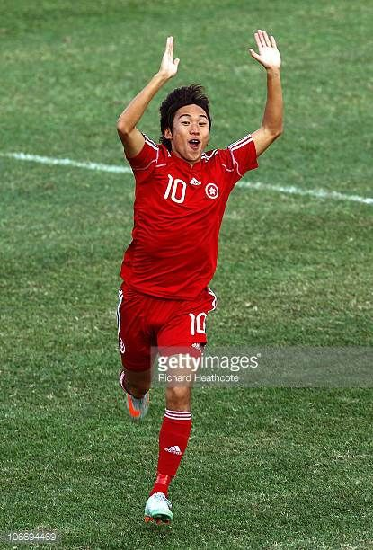 Yiu Chung Au Yeung of Hong Kong celebrates after scoring the opening goal during the Men's Football Group E pool match between Hong Kong and...