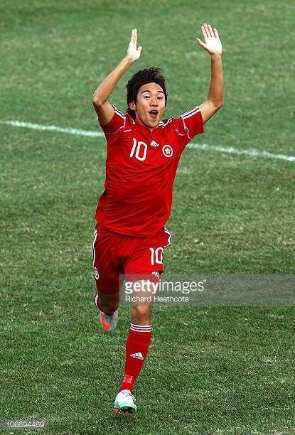Yiu Chung Au Yeung of Hong Kong celebrates after scoring the opening goal during the Men's Football Group E pool match between Hong Kong and...