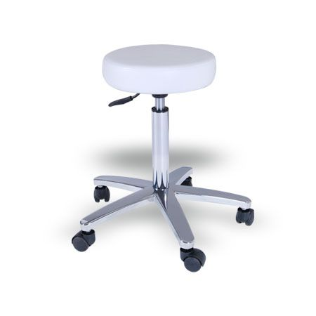 Abbey Stool (ST01 White) $115.00 (GST Excl.) 2 available 30D×30W×50(70)Hcm 5 star chrome base; Height adjustable gas lift.