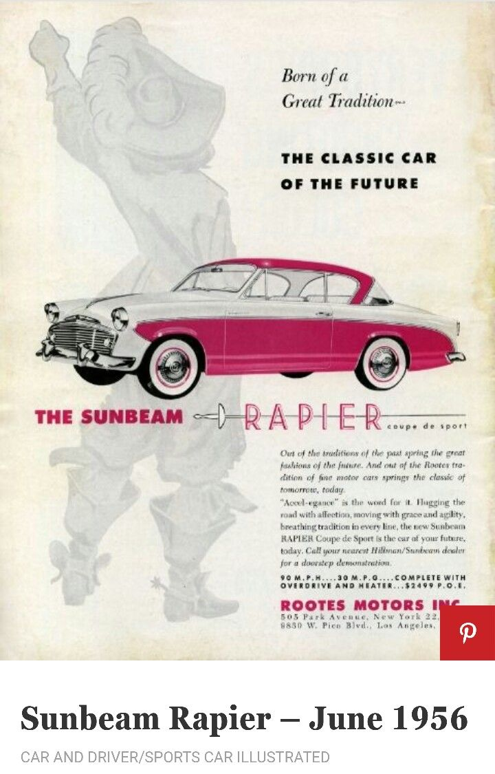 Colour a car - 1956 Sunbeam Rapier