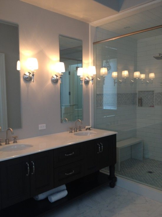 Inspiring Bathroom Designs in Various Models: Sensational Bathroom Vanity Furniture With Traditional Contemporary Style With Dark Color And White Countertop In Wasaga Beach Cottage Design ~ CATALYZE Bathroom Inspiration