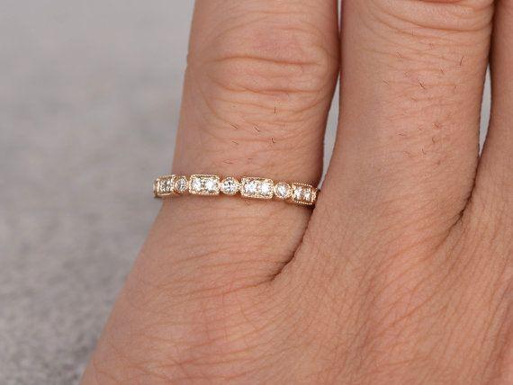 Diamant Ehering, rosa/gelb/weiß Gold.Every Schmuck in meinem Shop benötigt zu bestellen.  ------ Artikeldetails:  Solide 14K Gelb Gold(Gold color can be