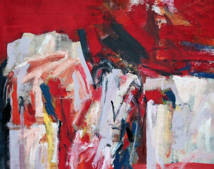 Buried in Red  oil on hessian 100 x 125 cms