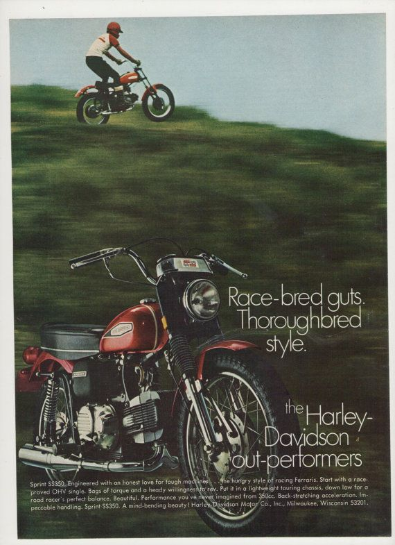 1970 AMF Harley Davidson  Sprint SS 350cc by fromjanet on Etsy, $5.00