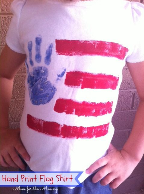 Hand Print Flag Shirt tutorial at Mine for the Making. Perfect for those patriotic holidays and events!