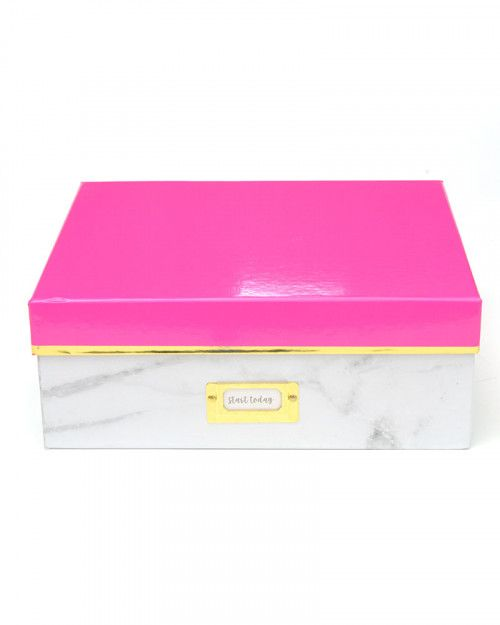 Small Storage Box - Marble & Pink