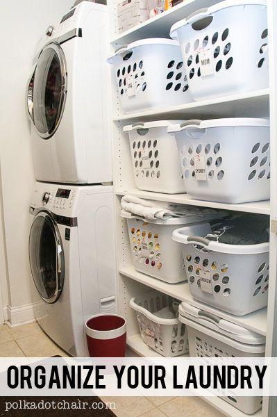 Laundry Room Shelving Idea- a great way to organize a small walk through laundry room.
