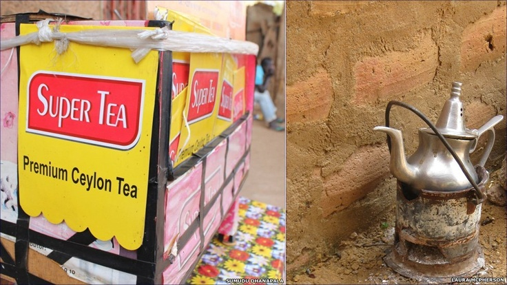 """In Niger's capital, Niamey, Sumudu Dhanapala says: """"Tea is usually sold by men with little boxes [Left] that carry their paraphernalia - tea, coffee, sugar, milk, lemon, and little glasses."""" In neighbouring Mali, Laura McPherson snapped this pot of traditional green tea brewing in a courtyard in Sevare"""