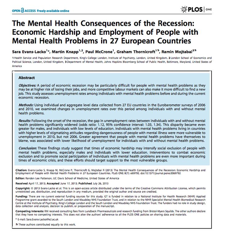 Evans-Lacko S, Knapp M, McCrone P, Thornicroft G, Mojtabai R (2013) The Mental Health Consequences of the Recession: Economic Hardship and Employment of People with Mental Health Problems in 27 European Countries. PLoS ONE 8(7): e69792. doi:10.1371/journal.pone.0069792