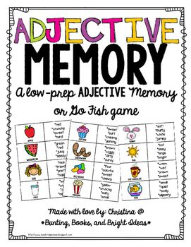 """This+fun+activity+is+a+perfect,+fun,+and+quick+way+to+practice+working+on+adjectives.Just+print+and+cut.++Place+a+center+or+use+with+groups+of+2-4.++Students+filp+over+cards+until+they+find+a+picture+and+adjectives+that+describe+it.You+can+also+play+as+""""Go+Fish""""+or+have+students+play+by+holding+picture+cards+against+their+foreheads+and+taking+turns+describing+others'+pictures+using+adjectives+until+each+student+guesses+their+own+picture.Like+this+game?"""