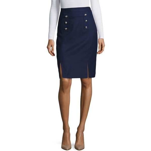 Tahari Arthur S. Levine Women's Textured Traditional-Fit Pencil Skirt ($59) ❤ liked on Polyvore featuring skirts, military navy, navy blue pencil skirt, pencil skirts, button pencil skirt, navy skirts and tahari by arthur s. levine