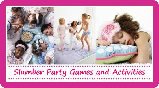 "tons of girl slumber party games for your sleepover pajama party! These are neat except for the ""True Love's Kiss"" game (I don't need a bunch of eight and nine year olds smooching a picture of Beiber lol)"