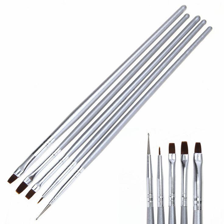 5 teile/satz Nail art Styling Design Malerei Zeichnung Liner Pinsel Maniküre Punktierung Pen Werkzeug-set Kit kostenloser versand