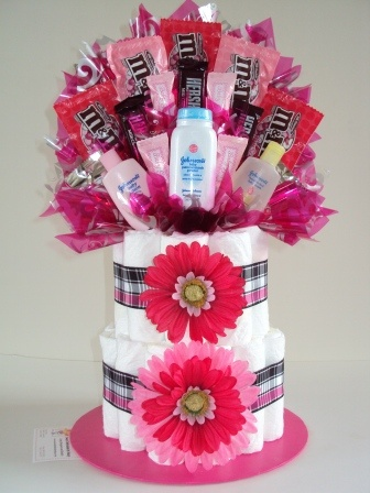 Diaper cake can be changed to pink camo colors or hunter for Pink diaper bouquet