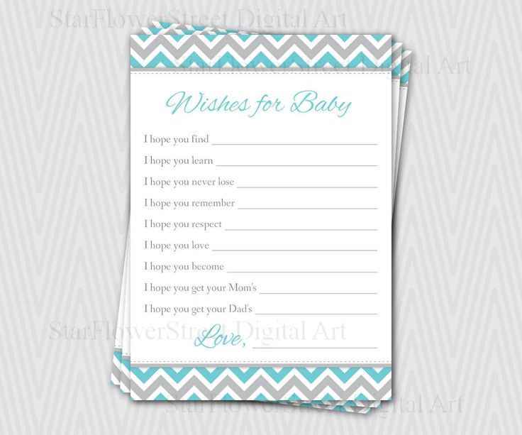 baby shower gray chevron baby boy shower wishes for baby baby wishes card turquoise blue printable download teal Baby Shower Activity games activities StarFlowerStreetDA on Etsy: (4.50 USD)